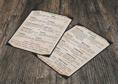 Sonora Mexican Restaurant – Drink Menu – Print Design